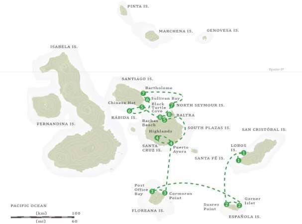 MS Beagle Itinerary Centre Southern Islands